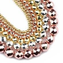 Jhnby бусины из розового золота черного серебряного цвета граненые