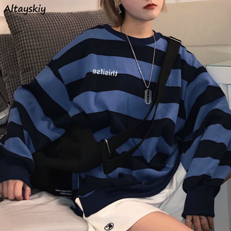 Hoodies Women O-neck Striped Letter Long Sleeve Pullovers Sweatshirts Casual BF Ulzzang Korean Style Streetwear All-match Womens