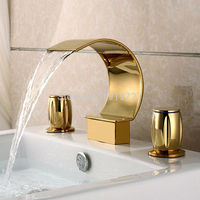 Vidric Factory Direct Luxurious Widespread 3 Hole Waterfall Basin Faucet Gold Finish Bathroom Sink Mixer Tap