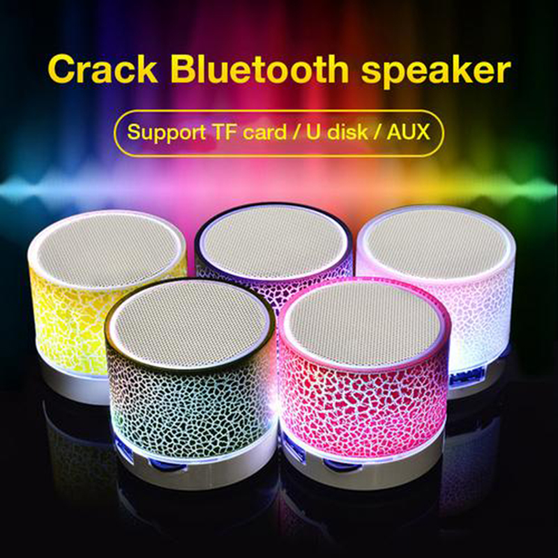 Wireless MP3 Player Bluetooth Colorful Light Small Crack Sound Speaker Audio Cell Phone Subwoofer Support TF Card U Disk AUX(China)