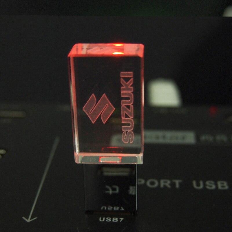 Hot Koop Usb 2.0 Flash Drive Met Auto Logo Suzuki Memory Stick 128Gb 4Gb 8Gb 16Gb 32Gb Led Crystal Pendrive Huwelijksgeschenken 64Gb 3