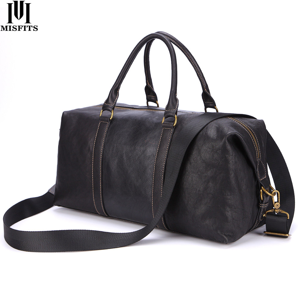 MISFITS Genuine Leather Men Travel Bag Casual Hand Luggage Bag Large Capacity Weekend Travel Duffle Bag Busines Man Shoulder Bag