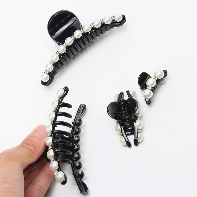 Femme Strass Plastique Pince à Cheveux Pinces Titulaire paillettes ronde queue de cheval clips