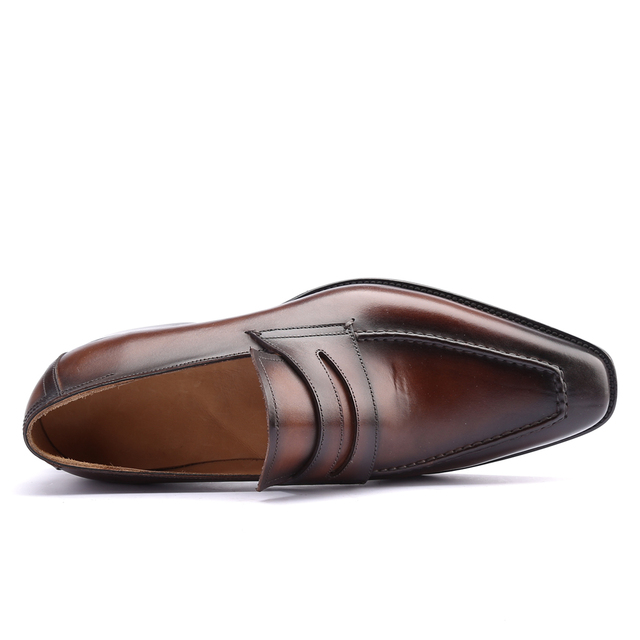 Casual Shoes Men Real Genuine Leather Luxury Handmade Office Formal Wedding Party Leisure Brand Shoes Loafer Mens