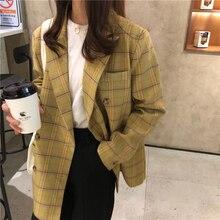 Винтажные клетчатые свободные женские блейзеры офисные женские куртки хлопковое пальто шикарный длинный костюм Женский Повседневный Тонкий Блейзер для женщин 0108