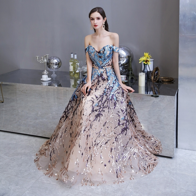Sexy Prom Dress 2021 Colorful Sequin Off Shoulder Sweetheart Long Party A Line Formal Graduation Gown Evening Celebration Dress 5