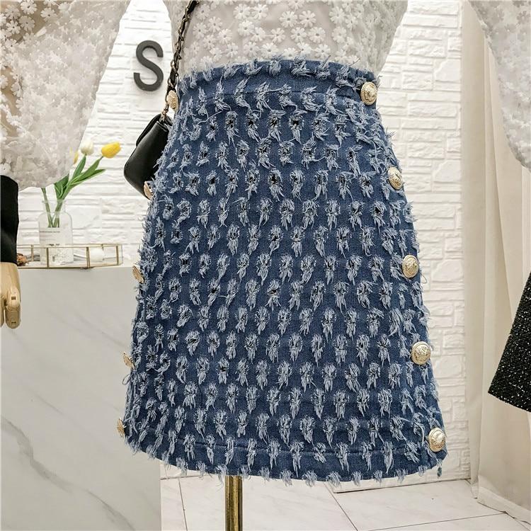 Denim Skirt Spring 2020 New Small Fragrant Wind High-Waist Fringe Package Hip Double-breasted A- Line Short Skirt Ladies Skirts