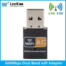 LccKaa-antena WiFi de doble banda para ordenador, minireceptor de tarjeta de red inalámbrica de ordenador, adaptador WiFi USB, 600Mbps, 2,4 GHz, 5GHz, 802.11b/n/g/ac