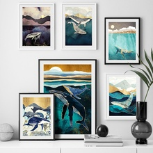 Abstract Whale Sea Mountain Sun Nordic Posters And Prints Wall Art Canvas Painting Animal Pictures For Kids Room Home Decor