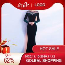 2019 Vestido Longo Hot Sale Full Mesh Dress New Velvet Party Autumn Long Sleeve Company Annual Meeting Host Fish Tail S 3xl