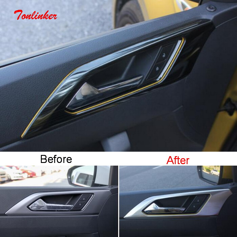 Tonlinker Interior Car Door Handle/Bowl Cover Sticker For Volkswagen POLO 2019 Car Styling 4 PCS Stainless Steel Cover Sticker