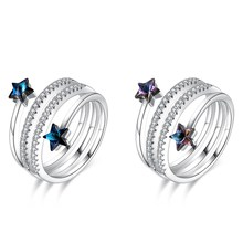S925 sterling silver double-layer ring Blue crystal five-pointed star jewellery Spiral adjustable personality Christmas ring