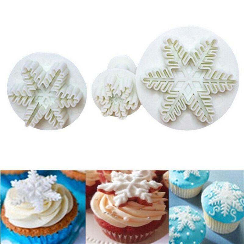 3PCS Christmas Snowflake Plunger Cutter Mold Fondant Cake Sugarcraft Xmas Tools