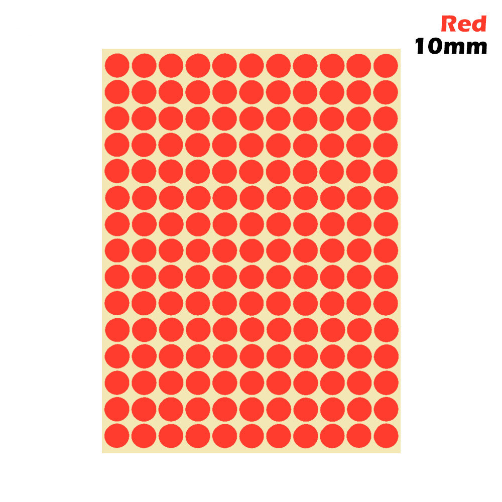 1 лист 10 мм/19 мм цветные наклейки в горошек круглые круги точки бумажные клеящиеся этикетки офисные школьные принадлежности - Цвет: red 10mm