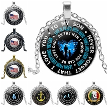 2019 New Accessories TO MY SON Time Glass Round Letter Necklace Alloy Pendant Jewelry Sweater Chain Wholesale