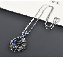 The new 2019 alloy with long glass drill drip general simple and pure fresh coltsfoot summer fashion women sweater necklace