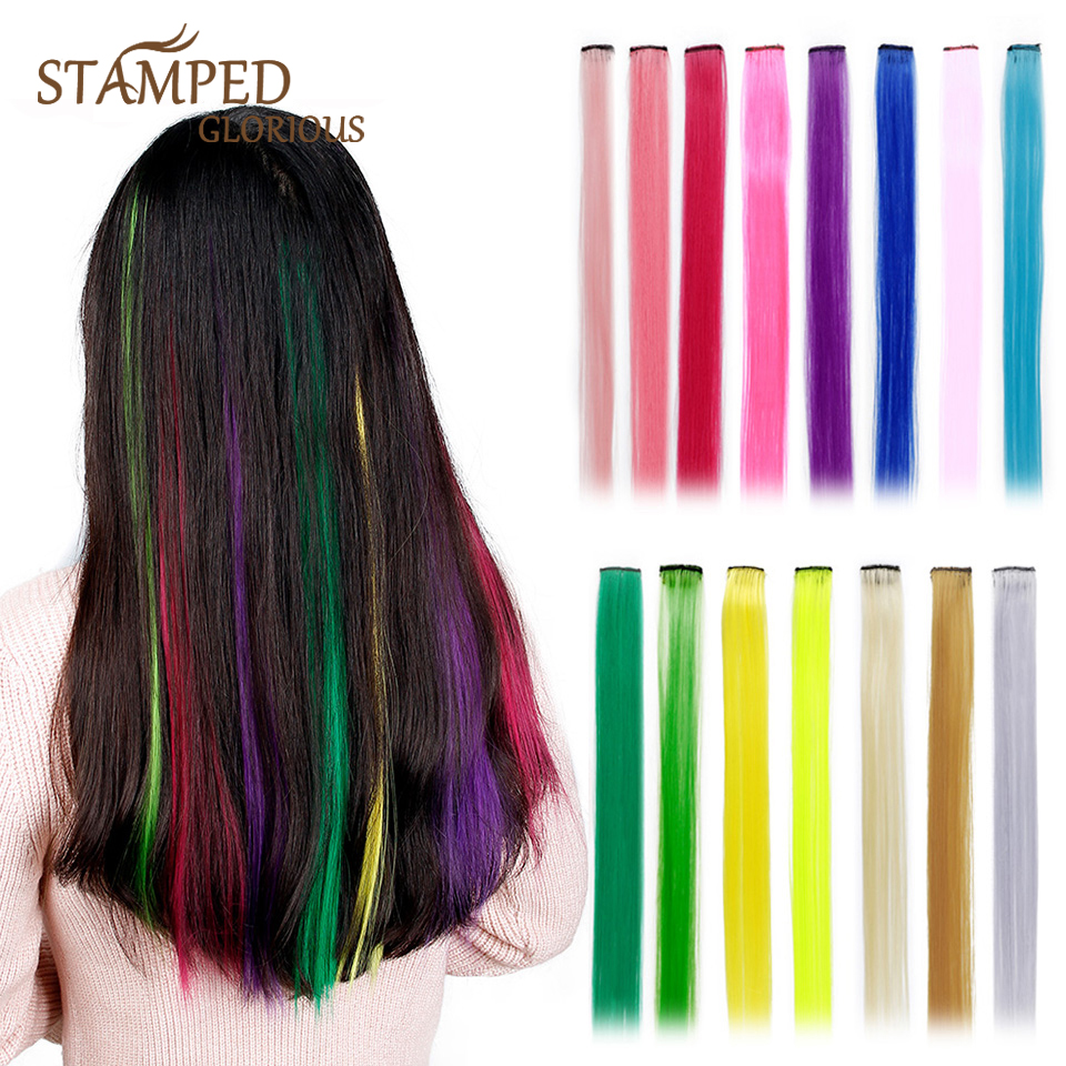 Stamped Glorious Long Straight Clip In One Piece Hair Extensions 20 Inch Synthetic Two Tone Fake Hair For Women Girls