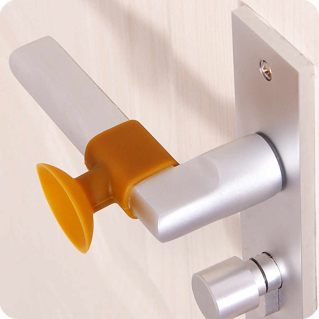 Color : White Fried Heavy Self-Adhesive Silicone Door Handle Crash Pad Rubber Door Handle Lock Silencer Protective Oxford