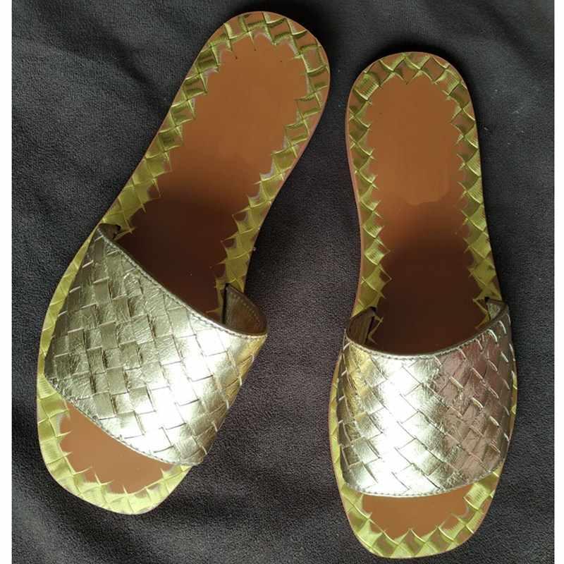Tecer Praia Chinelos de Couro Genuíno Das Mulheres Sapatos Baixos Marca de Moda Praia do Verão Desliza Sapatos Casuais Mulheres Projetistas Chinelo