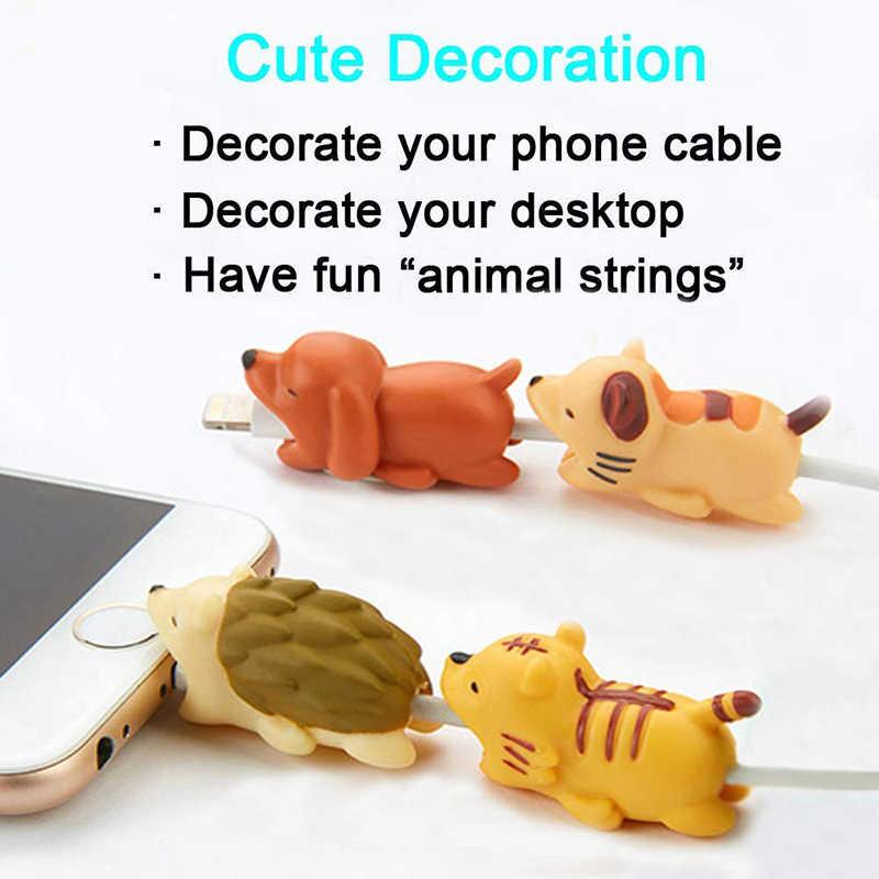1 個かわいいケーブル咬傷動物プロテクターアンドロイドiphone充電コードケーブル仲間漫画ケーブルbiter電話ホルダーアクセサリー