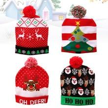 4 шт. светящаяся Вязаная Шапка-бини, светящаяся шапка Санта-Клауса, блестящая вязаная шапка, светящаяся Рождественская шапка для взрослых и ...