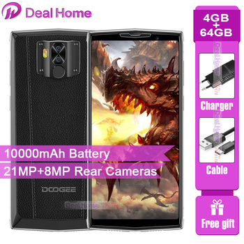 Doogee N100 10000mah Battery Mobile Phone 5.9 inch FHD+ Display 4GB RAM 64GB ROM Octa Core MT6763 21MP+8MP Camera 4G Smartphone