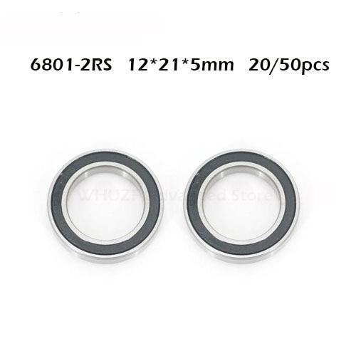 12x21x5 mm 10pcs 6801-2RS Black Rubber Sealed Ball Bearing Bearings 6801RS