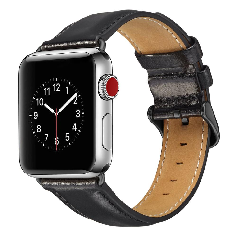 Image 3 - Genuine leather strap for apple watch band 42mm 44mm for apple watch 4/5 38mm 40mm correa replacement bracelet for iwatch 3/2/1Watchbands   -