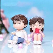 1Pair Cartoon Reading Lovers Figurine Miniature Fairy Garden Accessory Decoration Photography