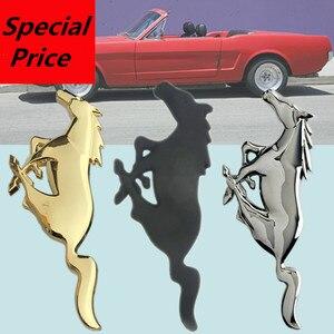Image 1 - Tuning Auto Universale 3D Metallo Mustang Horse Frontale Cappuccio Grille Emblem Sticker Corsa e Jogging Cavallo Decal per Ford mustang accessori