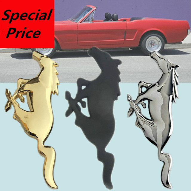 Tuning Car Universal 3D Metal Mustang Horse Front Hood Grille Emblem Sticker Running Horse Decal for Ford mustang accessories