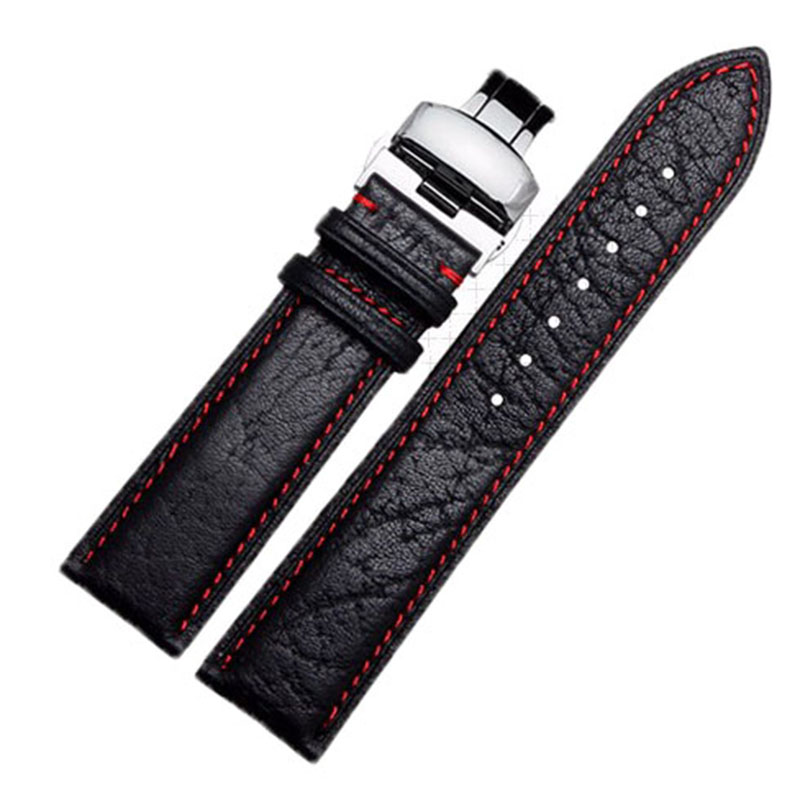 Wholesale prices <font><b>20mm</b></font> 22mm High Quality Genuine <font><b>Leather</b></font> Strap <font><b>Watch</b></font> <font><b>Band</b></font> <font><b>Black</b></font>& <font><b>red</b></font> Suture watchband for brand wristband image