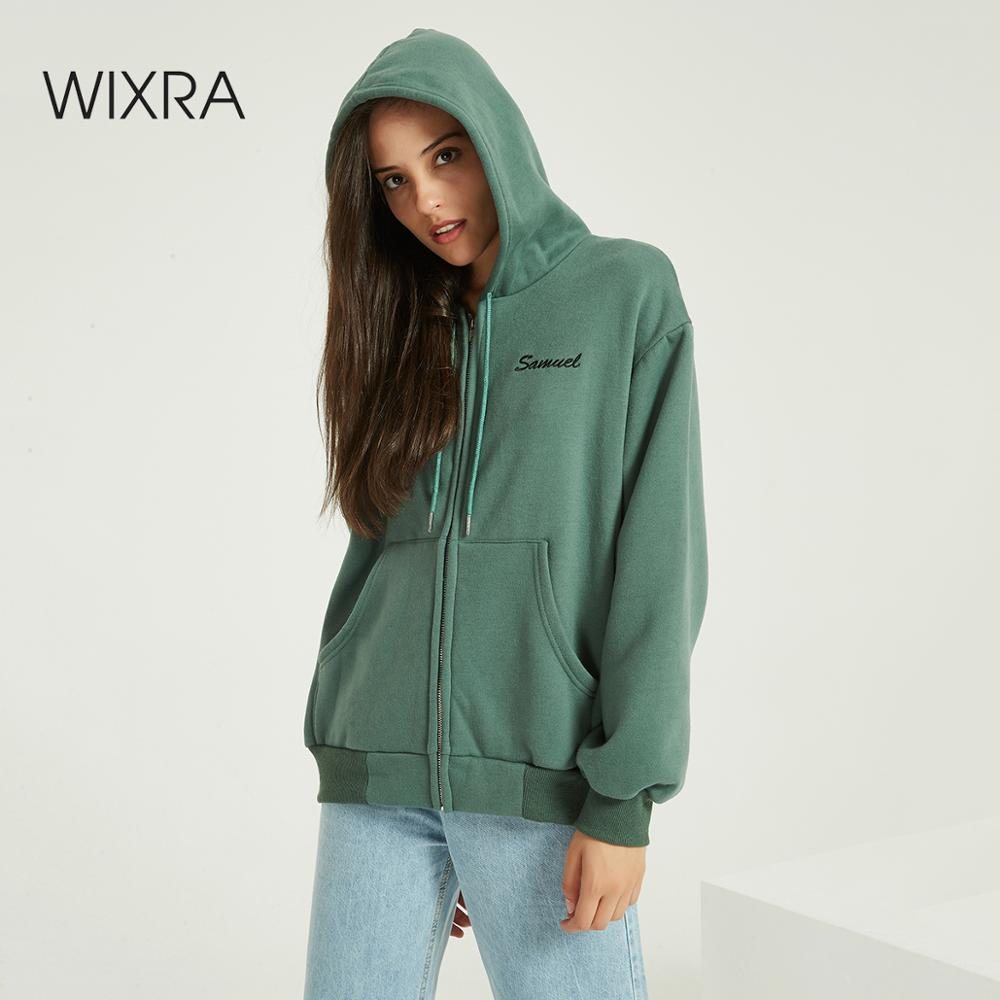 Wixra Women Zippers Sweatshirts Solid Long Sleeve Embroidery Letter Hoodies Tops 2020 Autumn Spring Basic Zip-up Tops