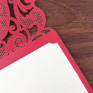 Image 3 - 25 stücke Luxuriöse Hochzeit Dekoration Lieferungen China Weiß Rot Laser Cut Hochzeits einladungen Elegante Hochzeit Einladung Karten
