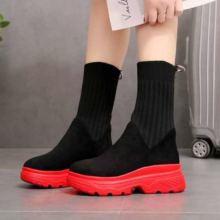 LZJ 2019 ใหม่ Breathable ผู้หญิงฤดูหนาวรองเท้าผ้าใบแบนรองเท้าผู้หญิงถุงเท้าหญิงถุงเท้า Botas Mujer 35 -40