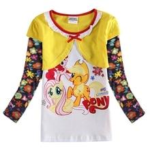 Girls Long Sleeve T-Shirt Little Pony Long Sleeve Cotton Top Kids Wearing Autumn New Girls Long Sleeve Cartoon Figure T-Shirt цена