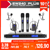 XTUGA Top Quality EW240PLUS 4 Channel Wireless Microphones System UHF Karaoke System Cordless 2 handheld & 2 bodypack Home party