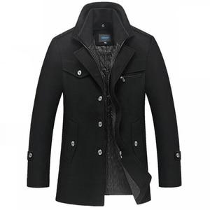 Image 5 - Abrigo de invierno para hombre, abrigos de lana gruesos a prueba de viento con cuello doble, prendas de vestir, chaqueta de invierno, Parka gruesa y cálida, ropa 5XL