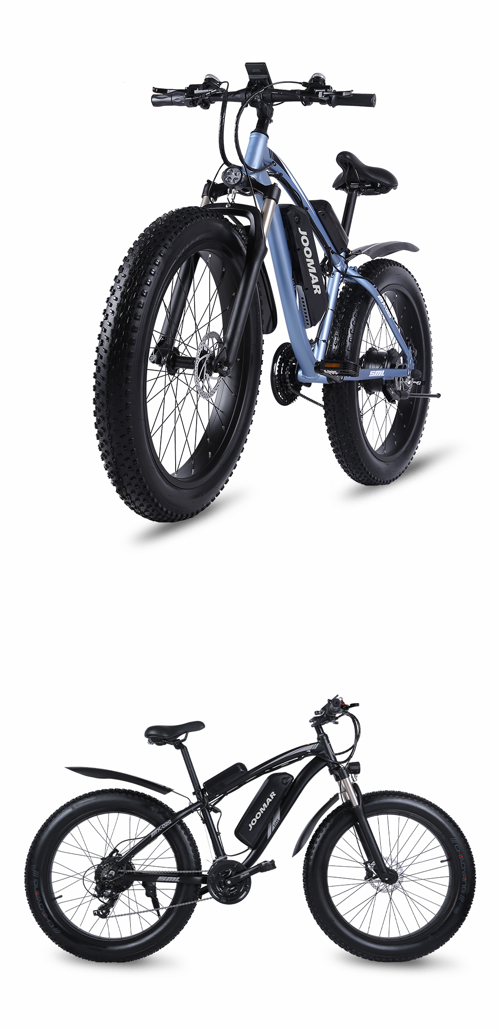 JOOMAR 1000W Electric Bike Fat Tire Ebike 26inch Top Aluminum Alloy Outdoor Beach Mountain Bike Snow Bicycle Cycling JM02S Plus
