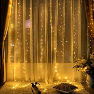 Image 5 - 200/300LED 태양 커튼 문자열 조명 웨딩 홀리데이 파티 문자열 조명 방수 야외 실내 크리스마스 빛 장식