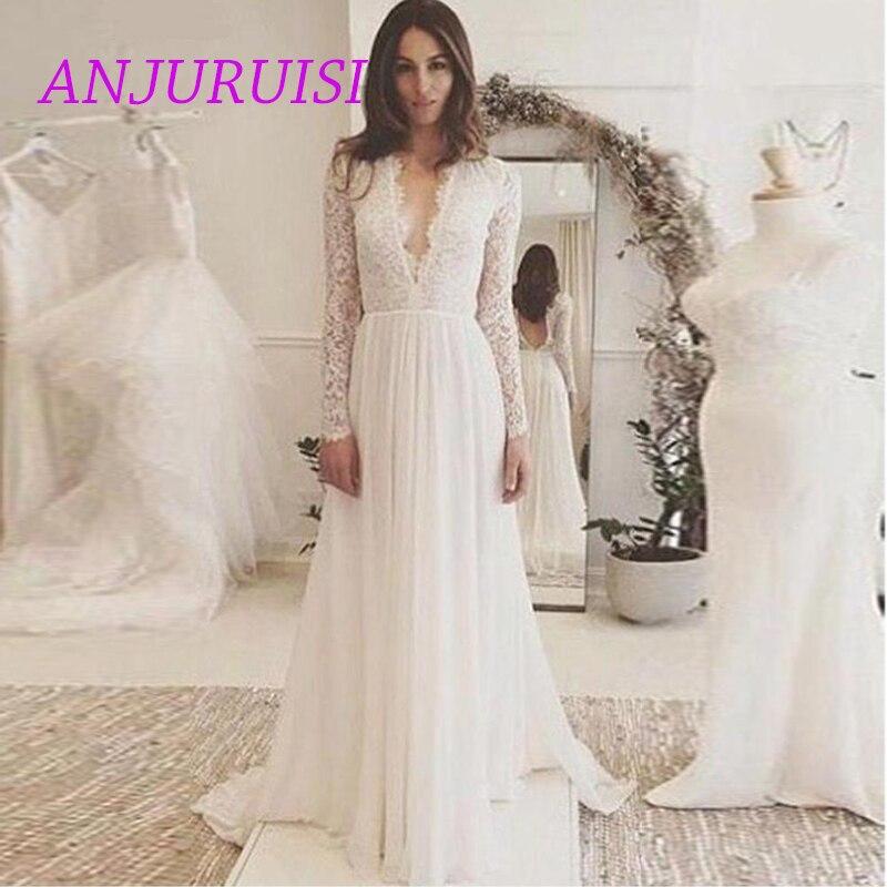 Anjuruisi Boho Wedding Dress Long