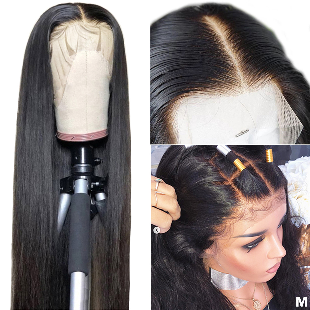 360 Lace Frontal Wig Pre Plucked With Baby Hair Peruvian Straight Remy HD Transparent Lace 13x6 13x4 Lace Front Human Hair Wigs(China)