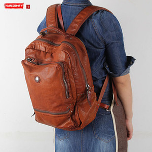 Image 1 - 2020 New Handmade Leather Womens Backpack Female Shoulder Bag Casual Retro Ladies Big Bags Travel Backpacks Top Layer Cowhide