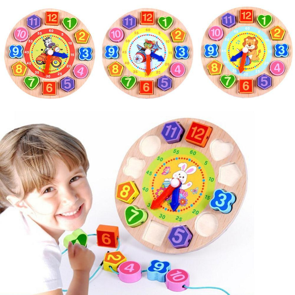 Kids Wooden Clock Toy Number Shape Cognitive Early Learning Educational Sorting Nesting Montessori Toys For Children Puzzle Gift