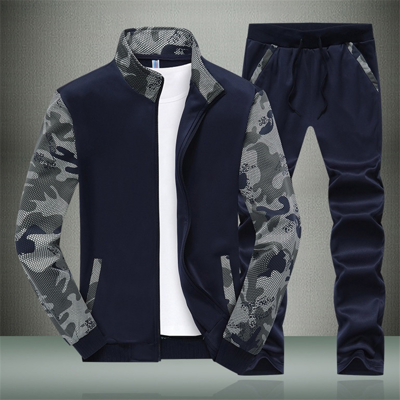 2019 Men Track Suit Set Camouflage Casual Sportswear Male Solid Tracksuits Zipper Jacket Coat Pant Jogger Tracksuit Two Piece