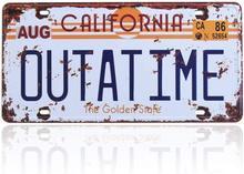 Outatime voltar para o futuro placa de licença memorabilia em relevo réplica da placa de licença delorean filme prop metal carimbado vaidade
