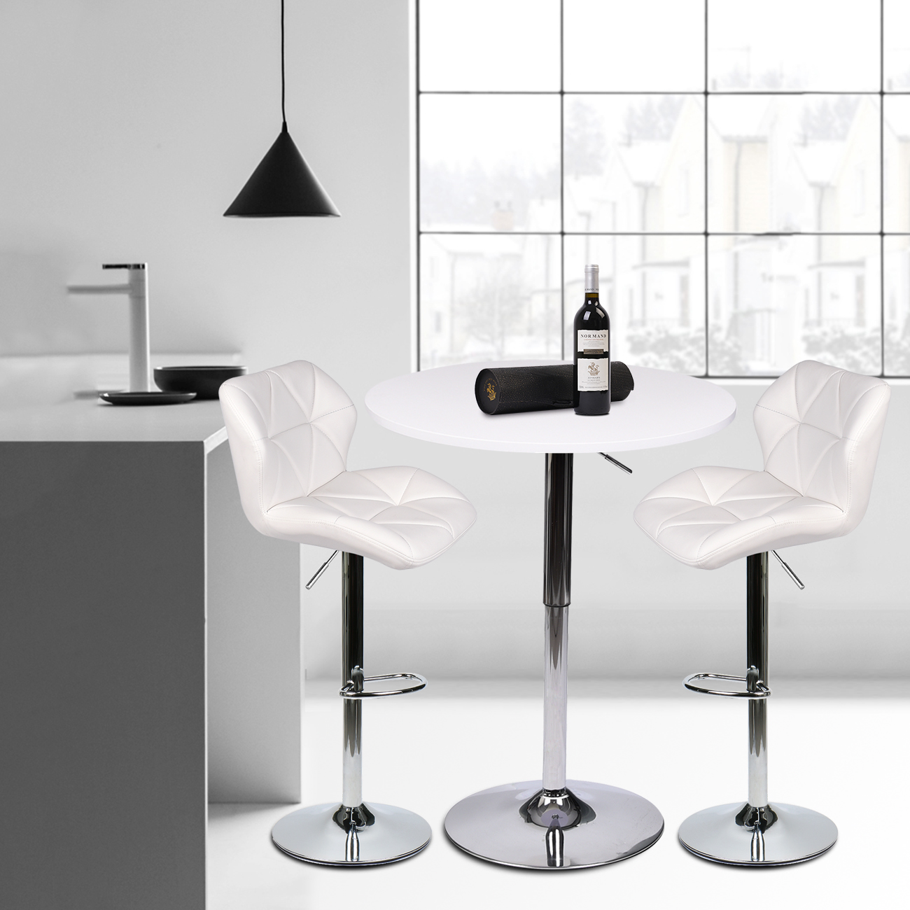 3 Pieces Adjustable Bar Table Set With 2 Swivel Stools Pub Kitchen Dining Chairs