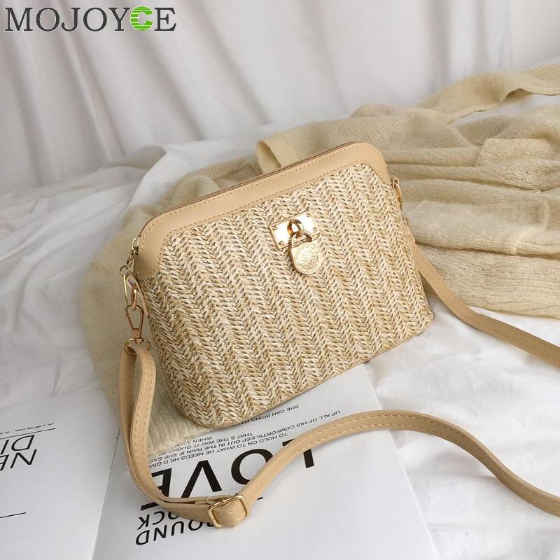 Fashion Straw Crossbody Bag Woven PU Leather Boho Beach Holiday Women Ladies Shell Shoulder Bags