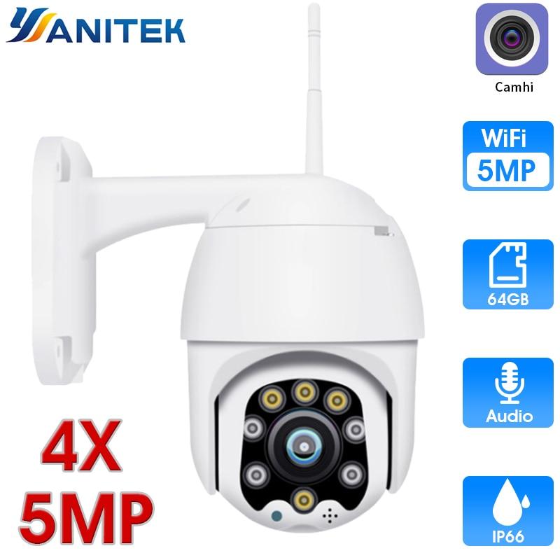 4X ZOOM Wireless PTZ Speed Dome 1080P IP Camera WiFi Outdoor 5MP Two Way Audio CCTV Security Video Surveillance Camera P2P