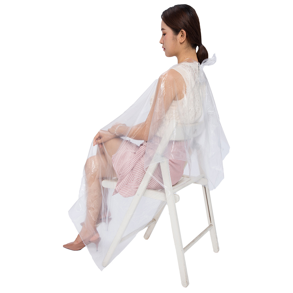50/100 Pcs Disposable Hairdressing Capes PE Waterproof Apron Cutting Perm Dye Hair Cape Barber Transparent Hairdressing Cloth(China)